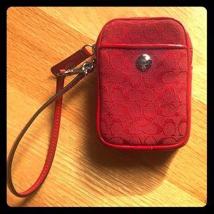 COACH red wristlet / purse